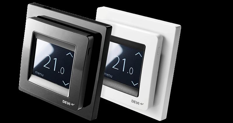 Termoregulator DEVIreg Touch w kolorze czarnym oraz białym.